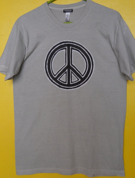 Peace sign Batik t shirt hand painted & hand dyed grey  by BAGANUS, $39.00