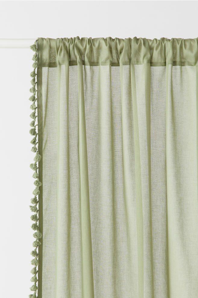2 Pack Tasseled Curtain Panels Tassel Curtains Living Room Decor Curtains Panel Curtains
