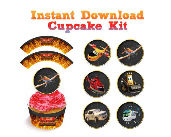 Planes 2 Fire and rescue favor cupcake topper wrapper kit party Disney's Disney birthday custom Dusty Boys boy party pack Printable DIY