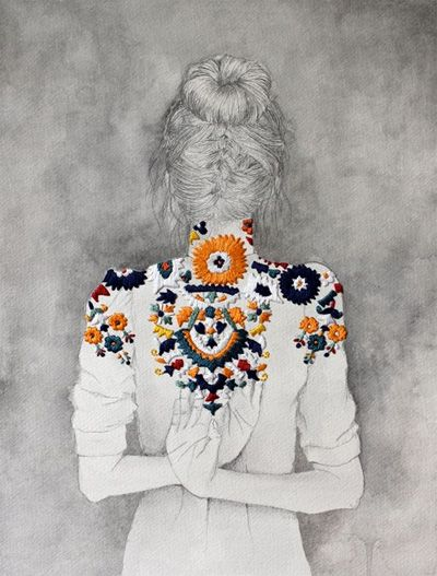 //: Drawings, Inspiration, Illustrations, Embroidered Drawing, Izziyana Suhaimi, Fashion Illustration, Artist, It Was Not The Zzi Haimi, Embroidery