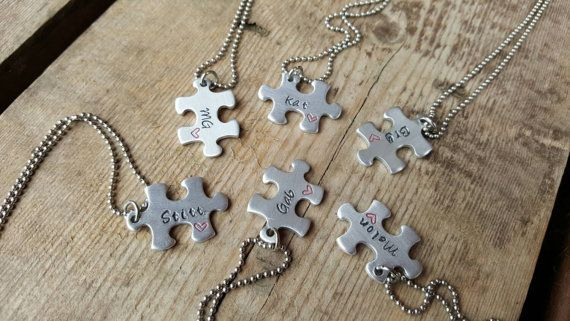 Puzzle friendship Necklace  Personalised  Best by DreasJewels1