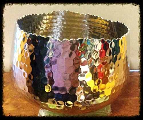 Love the look of this Hammered Metal Bowl. I now use it as my keys and spare change holder.