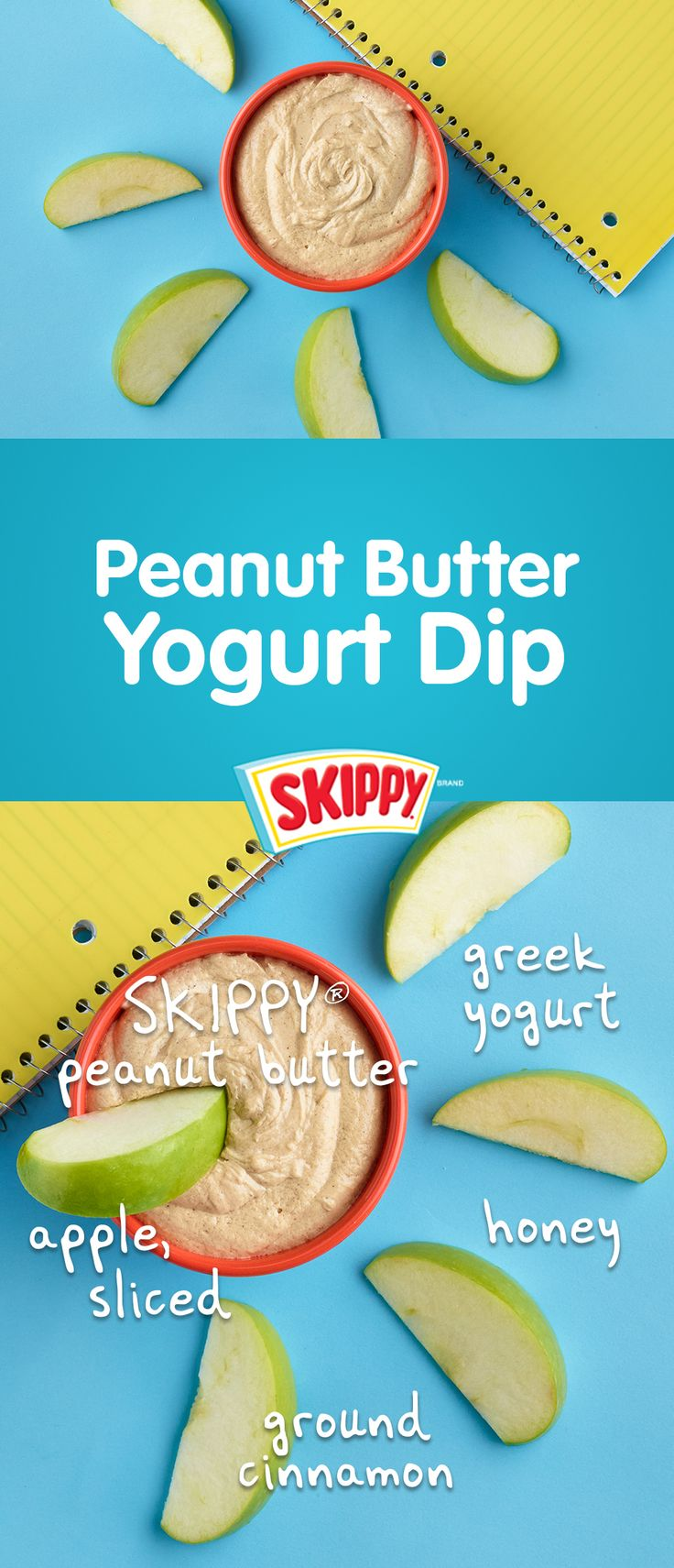 ½ cup SKIPPY® creamy peanut butter 1 cup Greek yogurt  2 tablespoons milk 1 tablespoon honey ¼ teaspoon ground cinnamon 1 teaspoon vanilla extract 1 large apple, sliced In small microwave safe bowl, heat peanut butter on HIGH 20 seconds. Stir in yogurt and next 4 ingredients until smooth. Serve with apple slices.