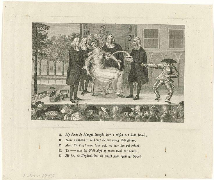 Anonymous   Spotprent op de patriotse kwakzalvers die de Nederlandse Maagd aderlaten, 1787, Anonymous, 1787   Spotprent waarin op een kwakzalverstoneel een jonge vrouw, de Nederlandse of Amsterdamse Maagd, door vier patriotten als kwakzalvers wordt adergelaten. Rechts een nar die het publiek uitlegt wat er gebeurt. Op het blad onder de plaat vijf tekstregels met de letters A-E. Mogelijk naar aanleiding van de onwettige afzetting van de twee Oranjegezinde burgemeesters W.G. Dedel en M.A…