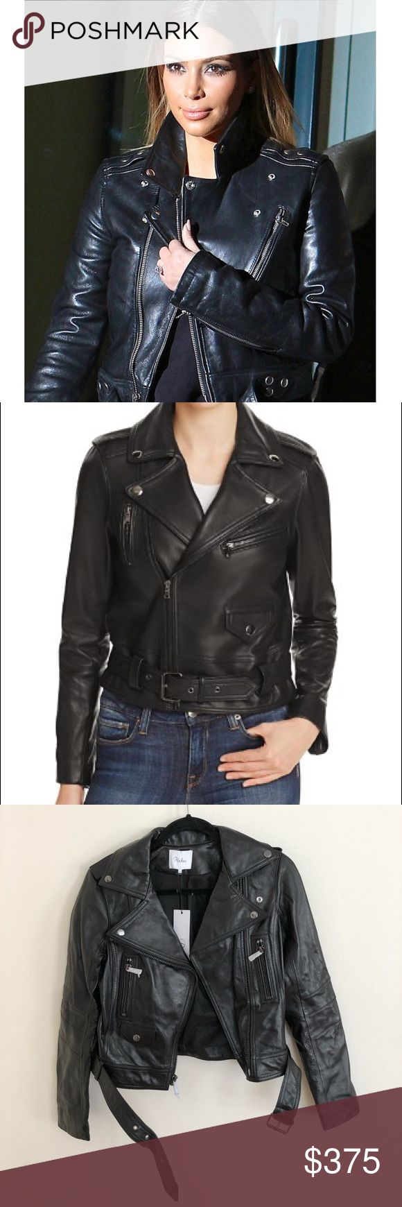 """Parker Leather Jacket 100% Leather. Long sleeves. Jacket. Visible front zipper. Fully lined. 22"""" from shoulder to hemline. Imported. Parker Jackets & Coats"""