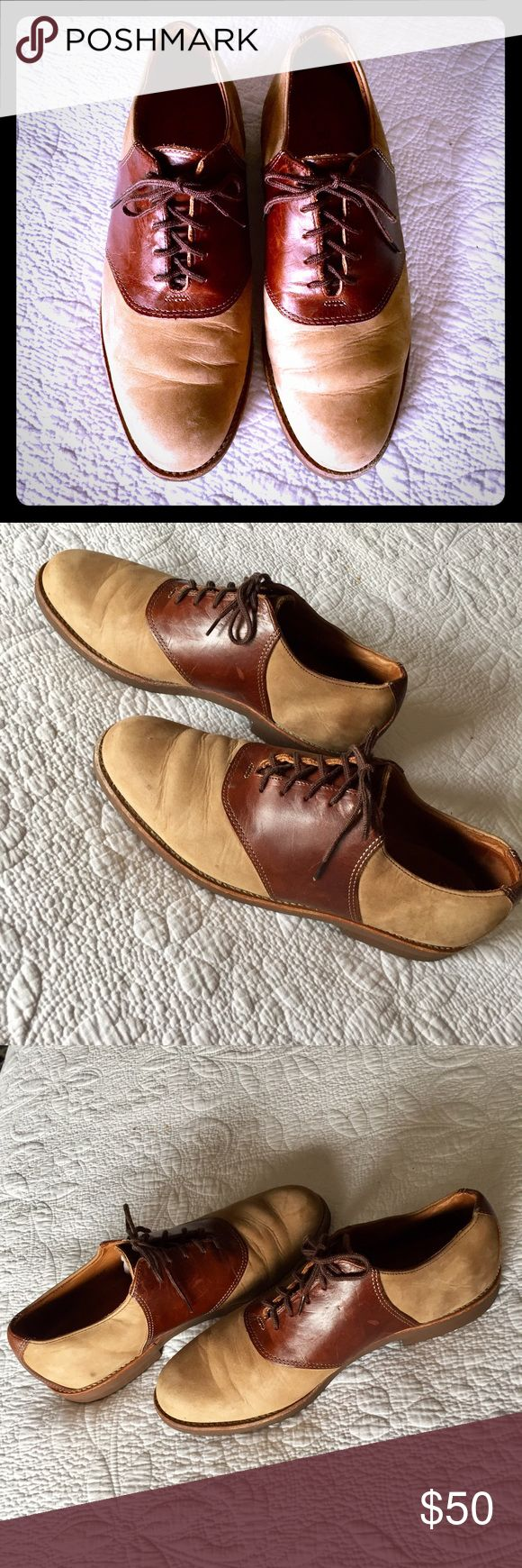 🌟VINTAGE🌟jCrew Men's Saddle Shoes An absolutely beautiful pair of 80's & 90's vintage saddle oxfords by JCrew.  Traditional saddle shoe featuring  two-tone colors of saddle brown and tan suede with brown soles. A beautifully made classic with gorgeous leather that is perfectly stitched, perfectly cut and lined, stamped inside leather.  Excellent used condition with minor scratches on leather.  Please see pictures for detail.  Size 9.5 M. J. Crew Shoes Oxfords & Derbys