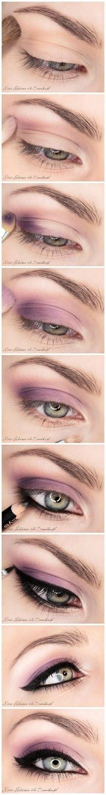 Purple eyeshadow black eyeliner makeup