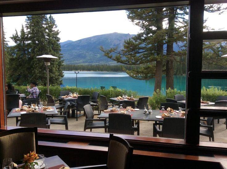 View from restaurant at Fairmont Jasper Park Lodge in Jasper Alberta! #Canada @FairmontJPL @RMountaineer