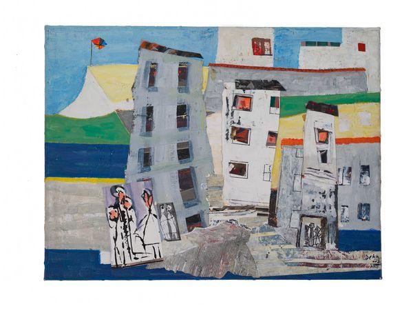 Cornish Village [2002] Mixed Media Collage on Canvas Dorrit Dekk  http://www-art.newhall.cam.ac.uk/the-collection/by/artist/id/91/name/Dorrit Dekk/artwork/154