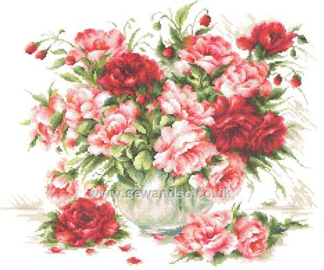 Buy Peonies Roses Cross Stitch Kit Online at www.sewandso.co.uk