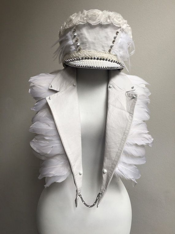 White leather lapels with studs, spikes, chains and feathers, statement necklace top jewelry scarf, boho bride, burning man mad mac festival