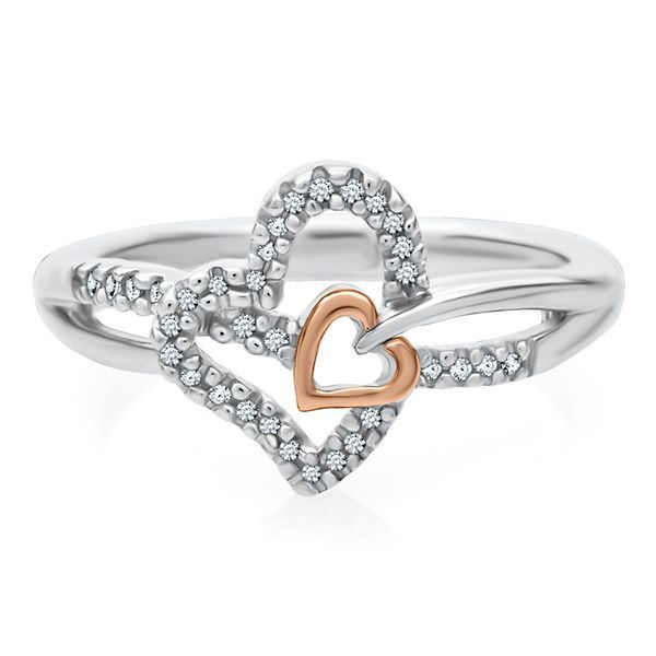 1/10 ct. tw. Diamond Heart Ring in Sterling Silver & 10K Rose Gold