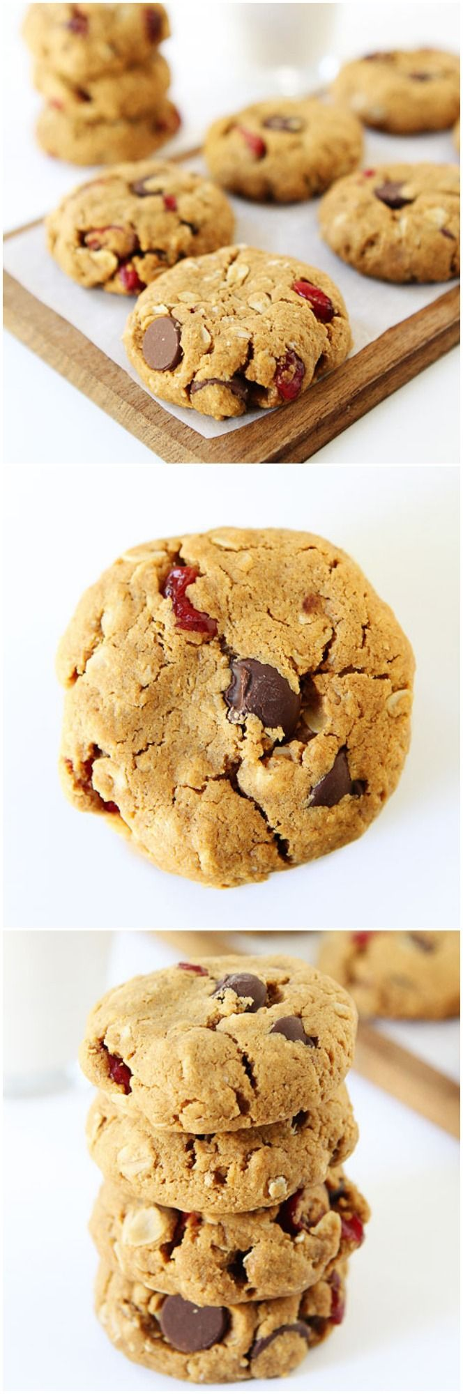 Healthy Almond Cranberry Oatmeal Cookie Recipe on twopeasandtheirpod.com LOVE these vegan cookies!