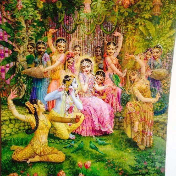 Let my mind be fixed upon Lord Sri Krishna, whose motions and smiles of love attracted the damsels of Vrajadhama.