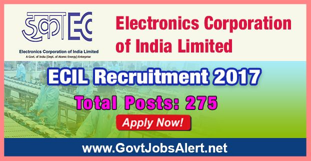 ECIL Recruitment 2017 - Hiring 275 Post Fitter, Turner, Machinist and Other Posts, Stipend Rs.8,655/- : Apply Now !!!  The Electronics Corporation of India Limited – ECIL Recruitment 2017 has released an official employment notification inviting interested and eligible candidates to apply for the positions of Fitter, Turner, Machinist, Machinist (G), Sheet Metal Worker, Electrician, Tool Maintenance Mechanic, Tool & Die Maker, Mechanic R&Ac, Motor Mechanic Vehicle, Electr