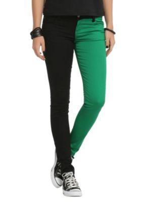 Royal Bones Green And Black Split Leg Skinny Jeans
