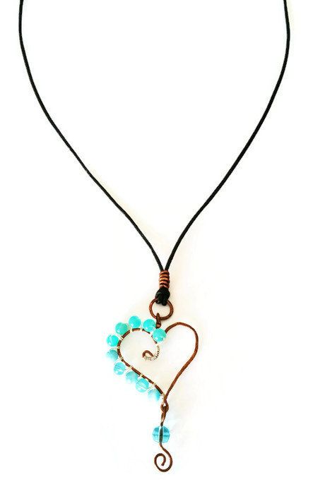 Copper Beaded Heart Necklace, Love Necklace, Heart Pendant, Leather Cord Necklace, Unique Birthday Gift