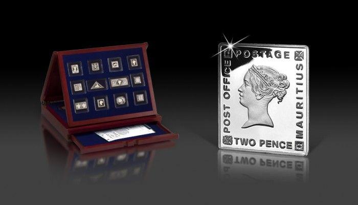 Błękitny Mauririus wybity w czystym srebrze oraz kolekcja replik najsłynniejszych znaczków świata