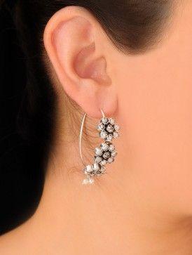 Floral Silver Earrings