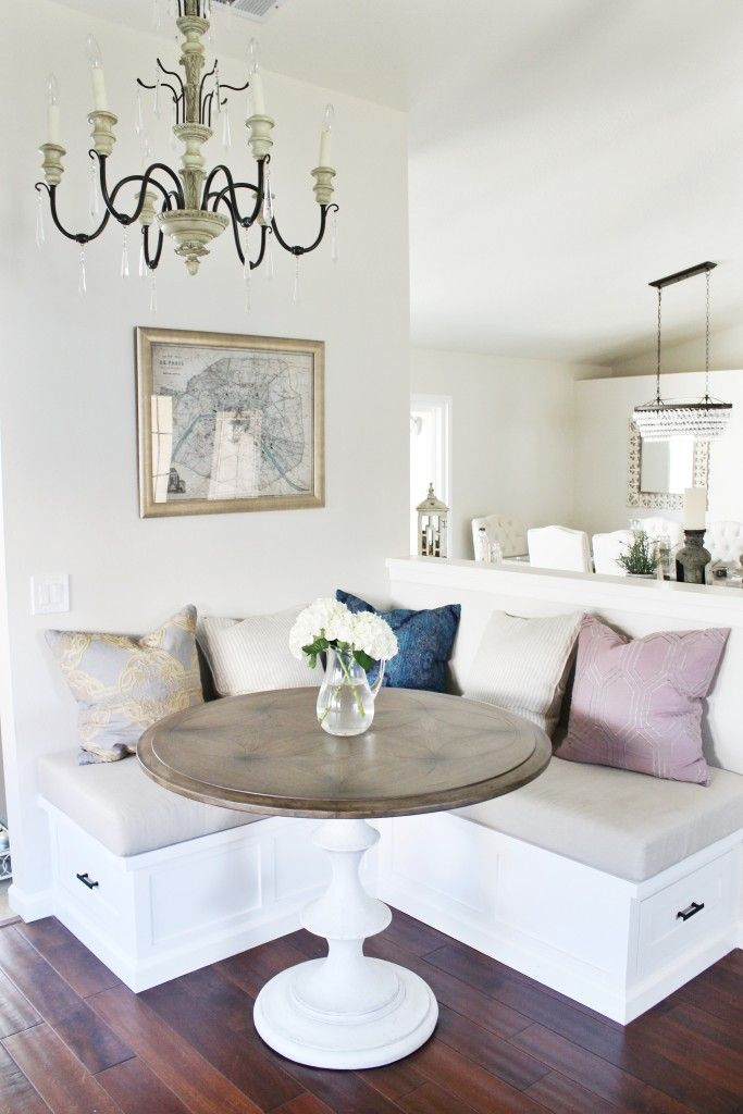 This Very Small Breakfast Nook Has A Nice Contemporary Design The Chandelier Rounded Marble Table Top And Multicolour Cushions Make One Of My