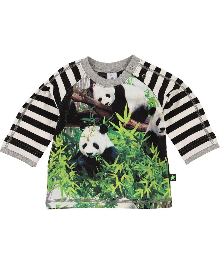 Molo funky panda baby t-shirt met gestreepte mouwen #emilea