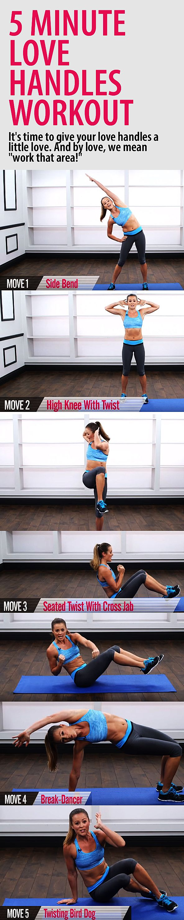 5 minute LOVE HANDLES workout. Get a stronger core and chiseled waist with these…