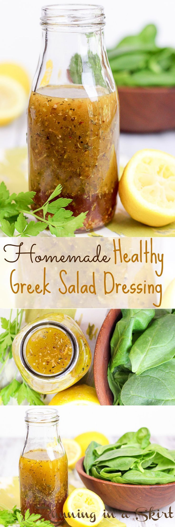Homemade Healthy Greek Salad Dressing recipes. DIY with only 7 ingredients!! Clean eating with olive oils, red wines vinegar, lemon and herbs. This reicpe is easy, vegan, dairy-free, skinny and simple. Great how to make instructions. Perfect on any salad. / Running in a Skirt