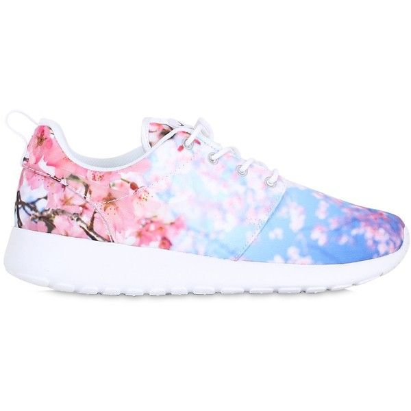 Nike Women Roshe One Cherry Blossom Mesh Sneakers ($140) ❤ liked on Polyvore featuring shoes, sneakers, multi, mesh sneakers, nike trainers, rubber sole shoes, mesh shoes and nike shoes