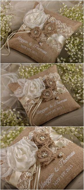Rustic country burlap wedding ring bearer pillow @4LOVEPolkaDots