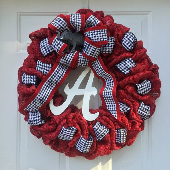 Alabama Crimson Tide Wreath  Red burlap wreath  Roll by NoelsWorld