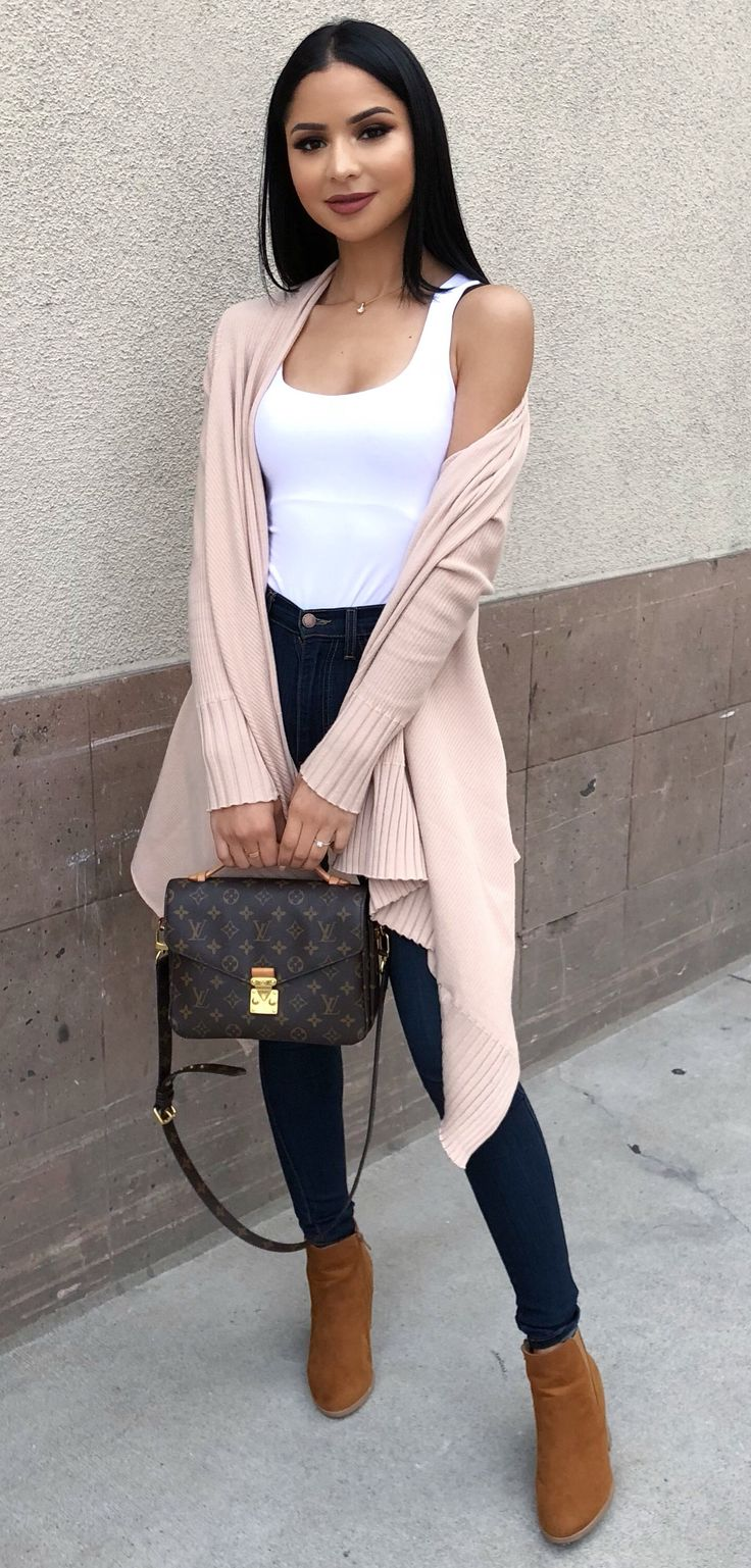 #fall #outfits women's white sleeveless shirt with pink cardigan. Click To Shop This Look.