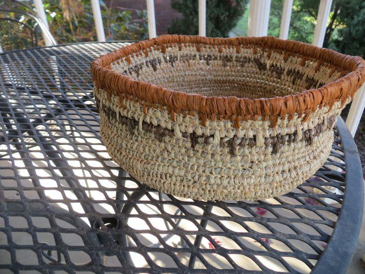 basket, raffia and sea grass, traditional stitch, own design 2016