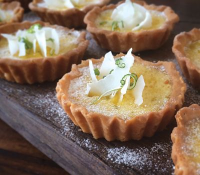 Carême Pastry | Luscious little lime and coconut tarts with sweet vanilla bean pastry