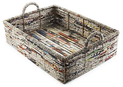 Flat Newspaper basket - Palecek prides themselves on making and creating eco-friendly storage baskets. Recycled newspapers become functional art for the home. Beautiful weaved design is sturdy enough for a full load of magazines or newspapers with splashes of color to add visual interest to any room. This unique storage basket is handmade so no two are alike.