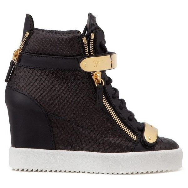 Giuseppe Zanotti Jennifer ($995) ❤ liked on Polyvore featuring shoes, sneakers, black, lace up, high top wedge sneakers, hi top wedge sneakers, black sneakers, black hi top sneakers and wedge sneaker