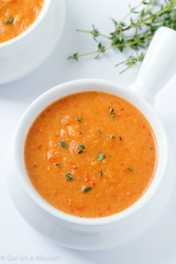 An out-of-this-world delicious cauliflower roasted red pepper soup.