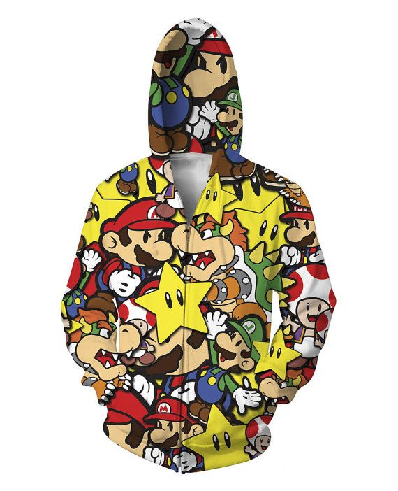 Super Mario Brothers Multi-Color Zip-Up by UltimateClothing4U