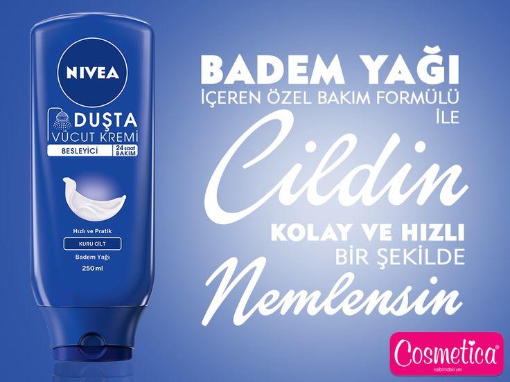 Duştan çıkar çıkmaz cildin ipeksi, yumuşak ve pürüzsüz olsun istiyorsan sana önerimiz; NIVEA Duşta Vücut Kremi Besleyici!