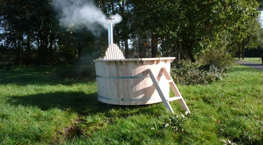 outdoor wood-fired hot tub