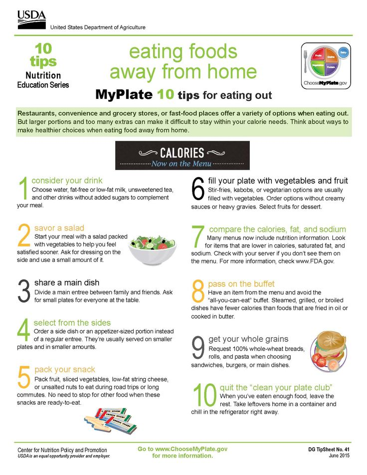 10 Tips for Eating Away from Home MyPlate education