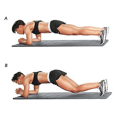 Plank/Pelvis Tuck: This exercise works both the rectus abdominus (six-pack) and transverse abdominus (waist-cinching corset muscles). #plank #abs | Health.com