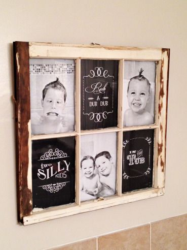 Window pane repurposed into picture frame - bathroom wall art.