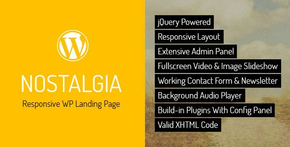 Nostalgia is a responsive WordPress Landing Page – personal or corporate, based on full-screen slider. The Theme is maintained in a minimalist, contrasting style. Background images kept in retro tones contrast with modern minimalist content. Tags: wordpress, theme, app, application, black, creative, jquery, landing, landing page, minimal, minimalistic, modern, portfolio, responsive, retro, vintage, yellow.