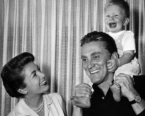 Kirk Douglas and Diana Dillon with son Michael Douglas
