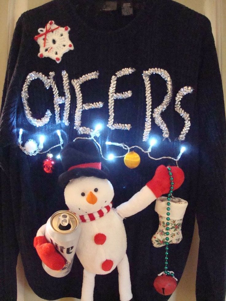 UGLY Tacky CHRISTMAS SWEATER MENS Beer PARTY SNOWMAN LIGHTS JINGLE BELLS SZ L #whocares #Crewneck