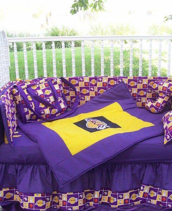New Baby Crib Bedding Set M/w LOS ANGELES LAKERS LA Basketball Fabric In  Bedding