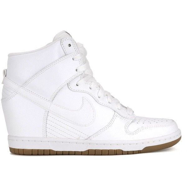 Amazon.com: Womens Nike Dunk Sky Hi Essential Wedge Shoes White/Gum... ($80) ❤ liked on Polyvore featuring shoes, nike footwear, grey shoes, white shoes, nike shoes and gray wedge shoes