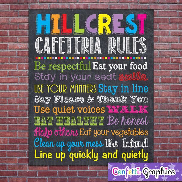 Cafeteria Rules Custom School Teacher Sign Poster Lunch Room Classroom Chalkboard Chalk Subway Wall Art Gift Customized Personalized by ConfettiGraphics on Etsy https://www.etsy.com/listing/197979952/cafeteria-rules-custom-school-teacher
