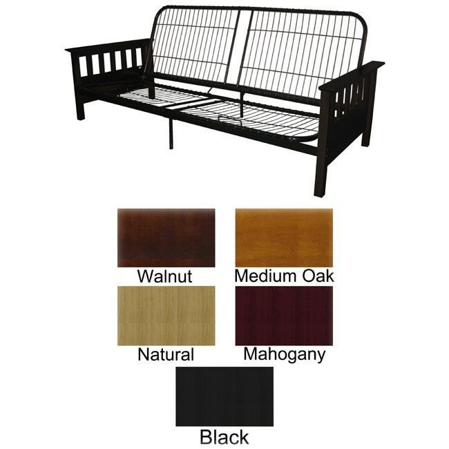 Provo queen futon frame has mission-style arms made of solid Indonesian oakFuton frame is easy to accessorize and will boldly complement your room decorFrame works with all queen-size futon mattresses
