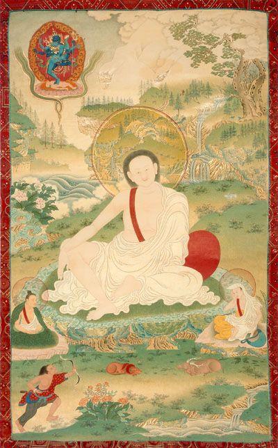 Tibetan Buddhist Thangka of Milarepa (Kagyu Lineage Master)